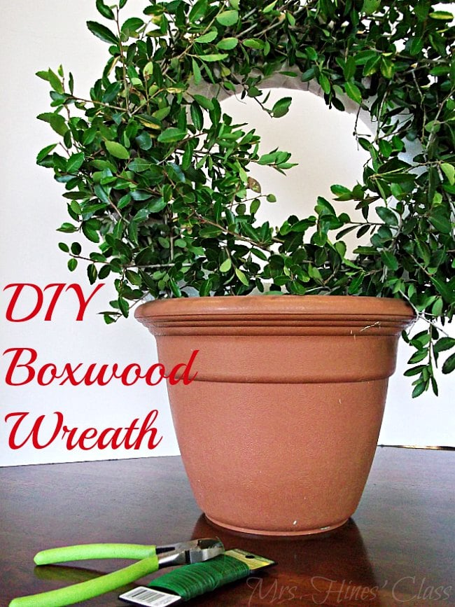 Get the Designer Look for Less by Making Your Own Boxwood Wreath.  Find the Tutorial at Sharon E. Hines