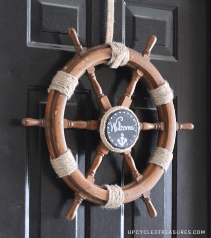 nautical wheel turned door wreath/ Find more new uses for old things at www.sharonehines.com