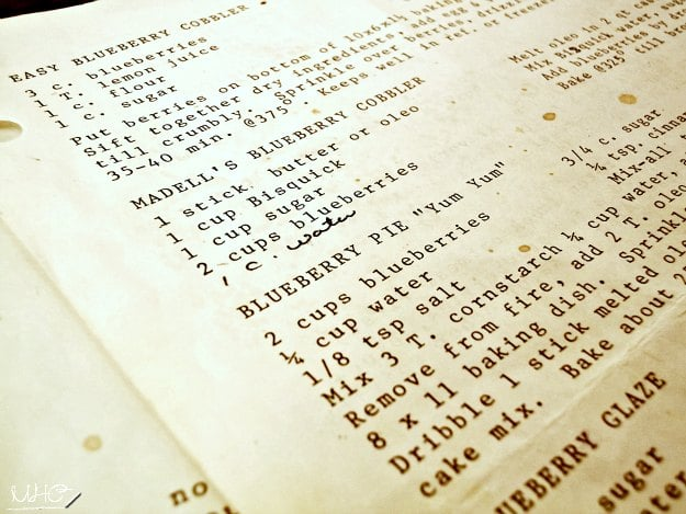 blueberry cobbler, easy dessert, menu planning