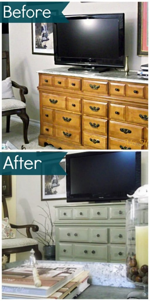 A beautiful furniture makeover using Annie Sloan chalk paint in Chateau Gray. See the amazing before and after at Sharon E. Hines