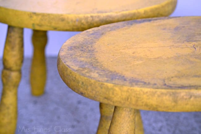 """vintage stool """"before""""/ Learn how to create a Color Wash with #chalkyfinish paint / www.sharonehines.com #ad #decoartprojects"""