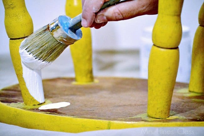 """vintage yellow stools """"before"""" / see the """"after"""" at www.sharonehines.com #ad #chalkyfinish #decoartprojects"""