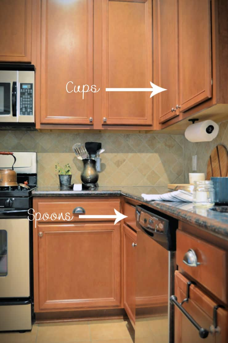 kitchen  cabinets with arrows showing where tea cups and tea spoons are stored