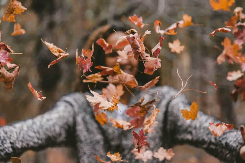 woman wearing a gray sweater throwing Fall colored leaves.