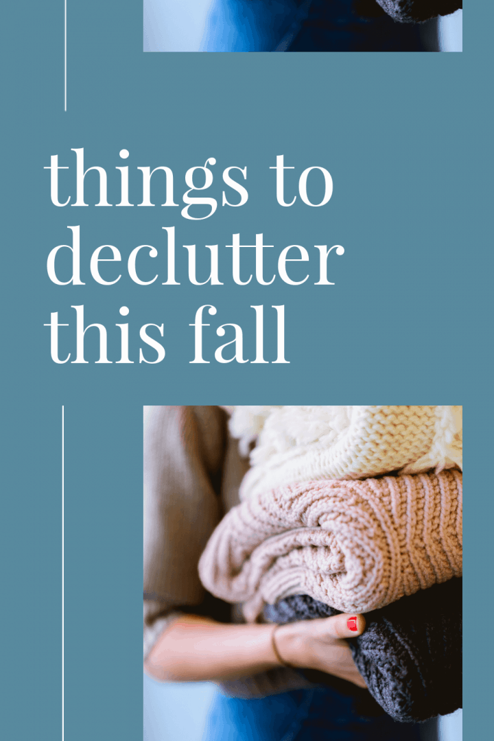 woman carrying thick, knit blankets with text that says things to declutter this fall. This is a photo in a post about Fall Decluttering Tips