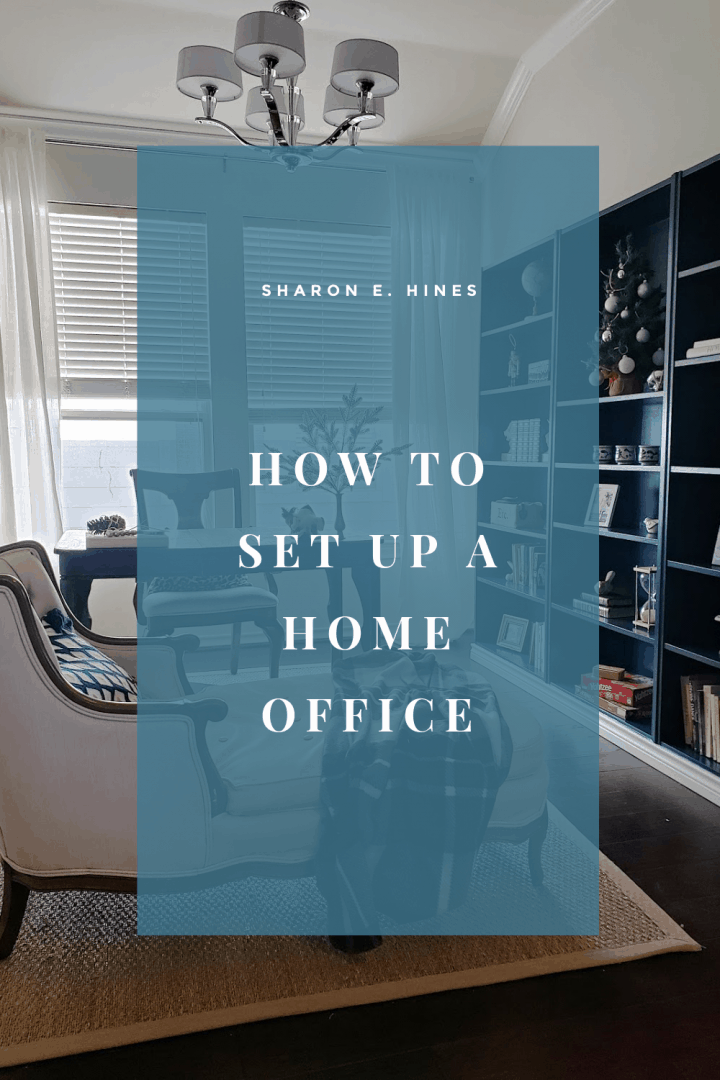 A blue text box with the text how to set up a home office set over a background image a pretty home office.