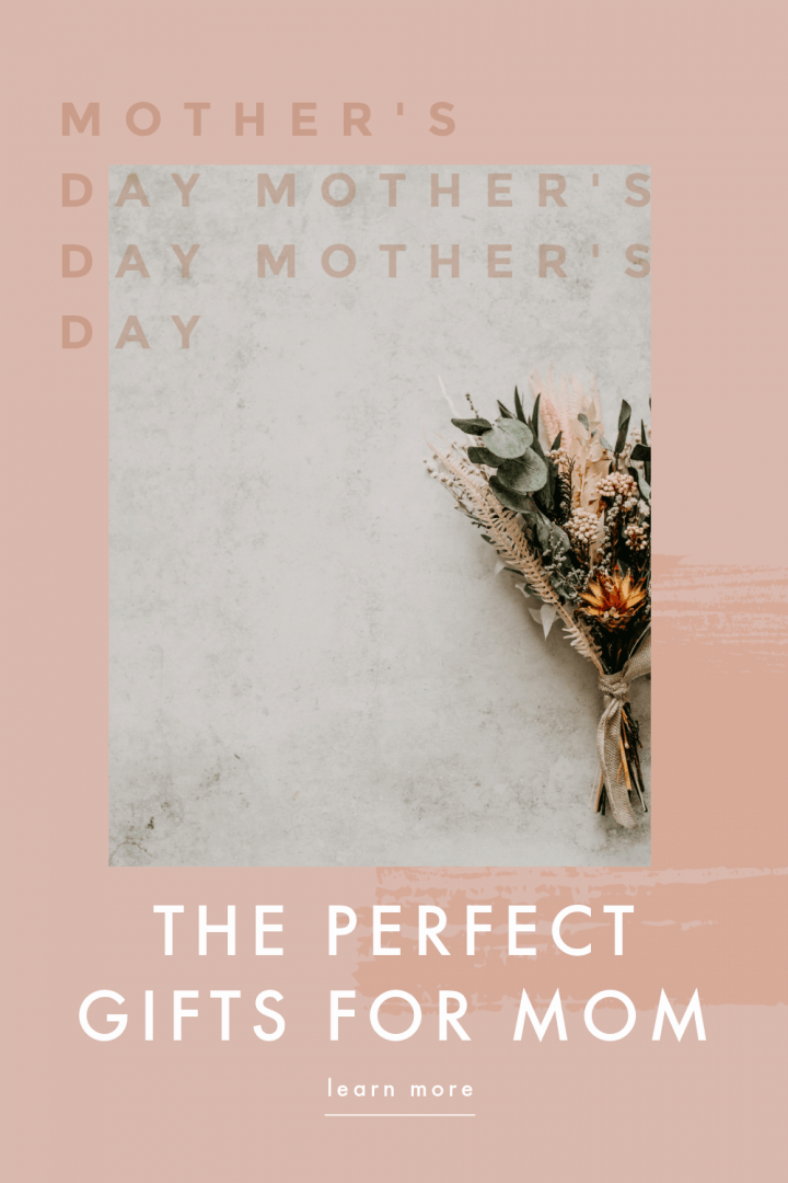 pink background with an image of a flower arrangement tied in a string laying on a white surface. The image says  the perfect gifts for mom.