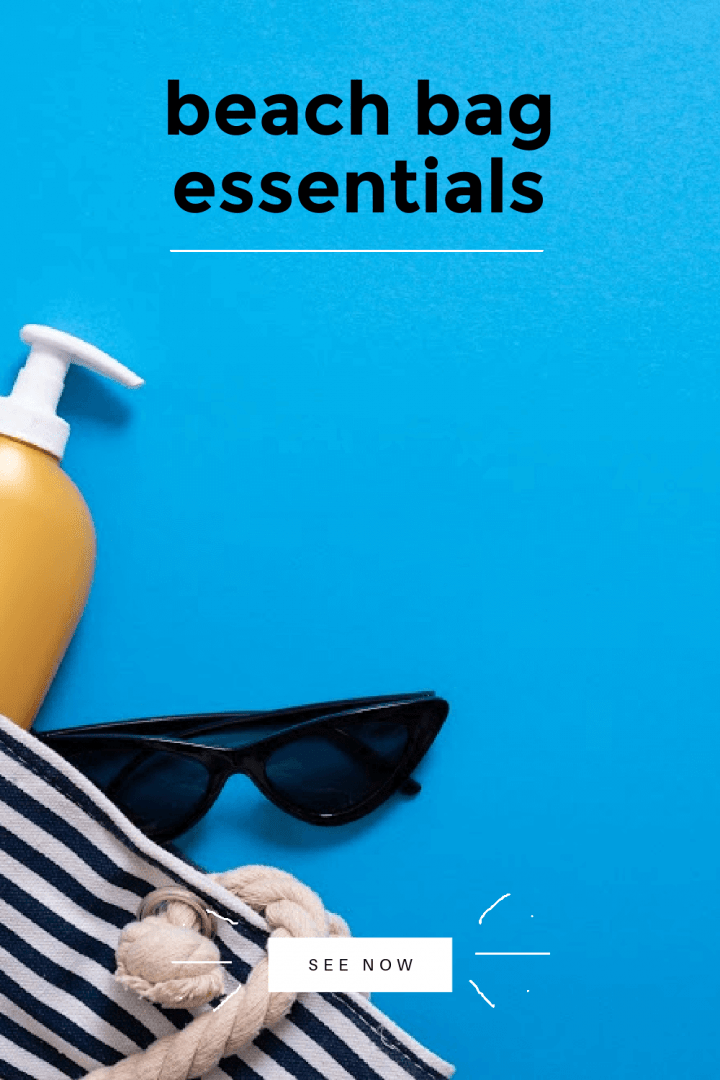 blue and white horizontal striped beach bag laying on its side with a yellow bottle and a pair of black sunglasses spilling out onto a sky blue background. The image reads Beach Bag Essentials