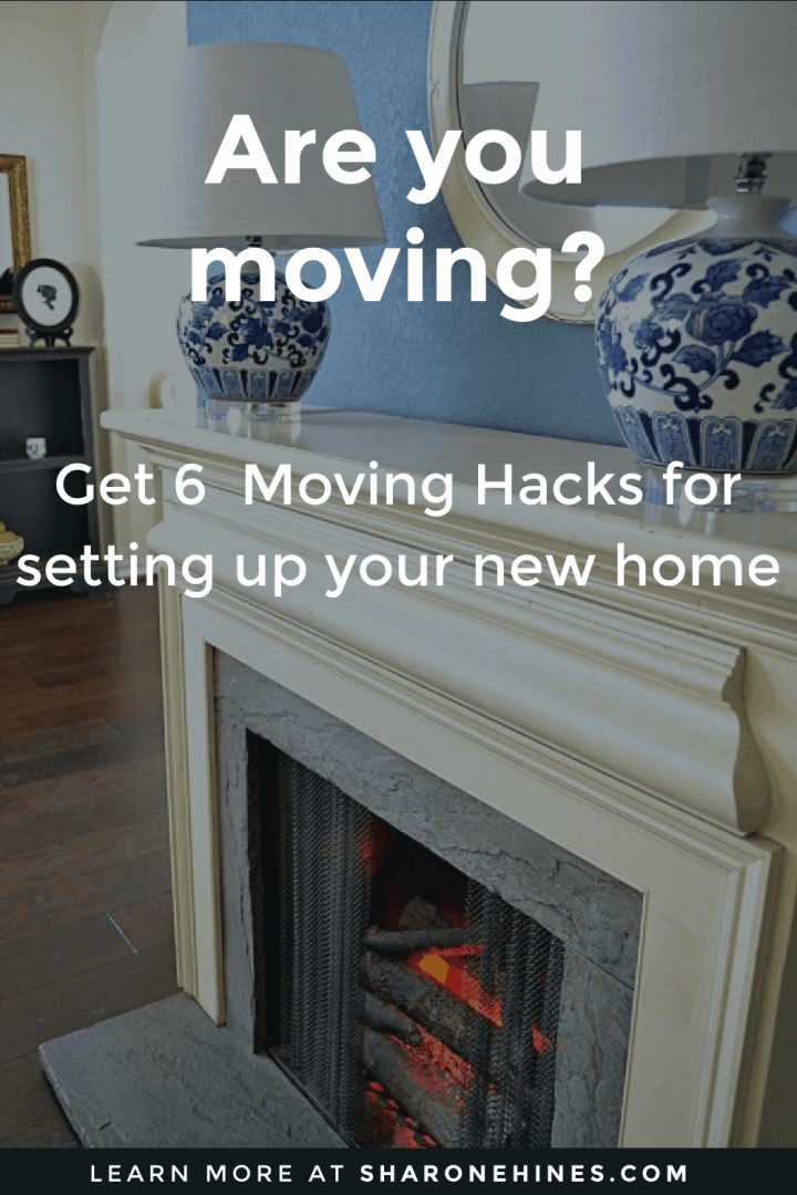 blue wall with a fireplace. the fireplace has a pair of blue and white floral lamps on top. the image says are you moving? get 6 moving hacks for setting up your new home.