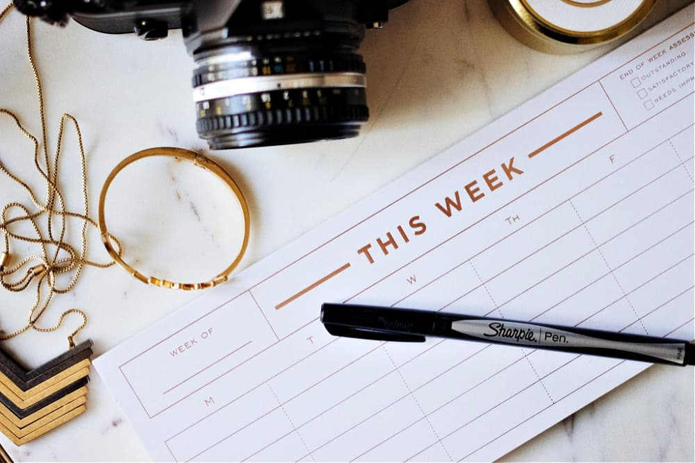 weekly planner spread out on a desk surrounded by a camera, sharpie pen, a pony tail holder and a necklace.